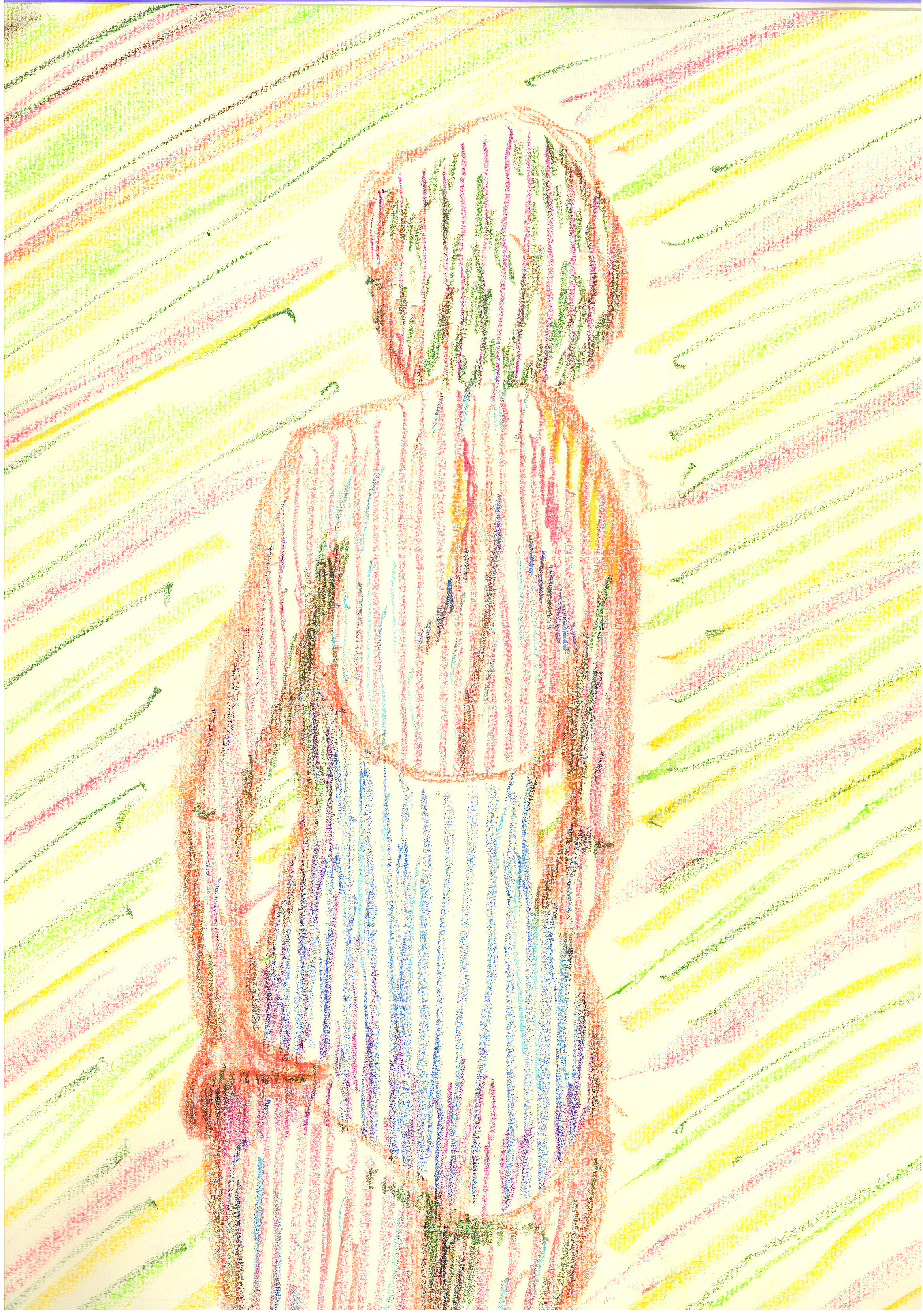 This one is with oil pastel --- probably, should work out better with color pencils