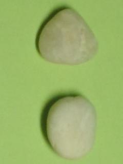 ご覧のとおり、小石には穴がありません / See, the pebbles have no hole in them!